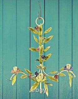 Vintage Shabby Chic Italian Tole Metal Flower Leaf Wall Sconce Candle Holder