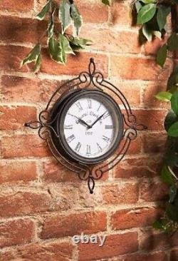 Vintage Shabby-Chic Outdoor Decorative Black Wall Clock For Indoor / Outdoor Use