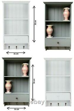 Vintage Shabby Chic Shelf Unit With Storage Drawer Wooden 3 Key Hooks Wall Mount