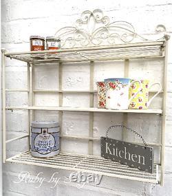 Vintage Style Metal Wall Shelf Unit Storage Cabinet Display Shabby Chic Shelves