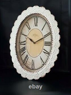 Vintage Style Oval Distressed Iron Wall Clock 13-3/4 x 18 by Paris