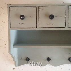 Vintage Style Rustic Distressed, Country Wall Cupboard 3 Drawers In Antique Blue