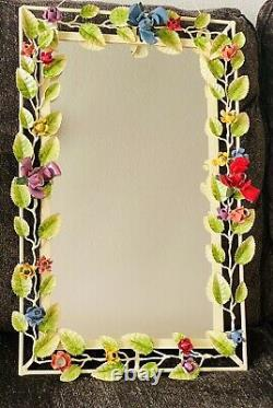 Vintage Tole Wall Mirror Hanging Flower Toleware Italian Italy Shabby Chic Metal