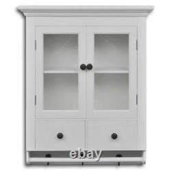 Vintage Wall Cupboard Storage Unit Cabinet Wooden Shabby Chic White Furniture