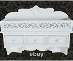 Vintage Wall Mounted Shelf Shabby Chic Style Storage Hooks Drawers Unit White