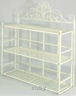 Vintage Wall Mounted Shelf Unit Scroll Cream Metal Shabby Chic Storage Shelves