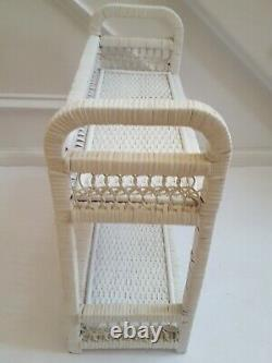Vintage White Open Wicker Wood Two Shelf Wall Hanging Shabby Chic A