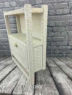 Vintage White Wicker Wall Shelf Cabinet With 1 Door & 2 Shelves MCM