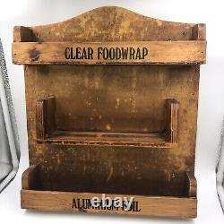 Vintage Wooden Kitchen Roll Towel Holder Foil Film Dispenser Wall Mounted