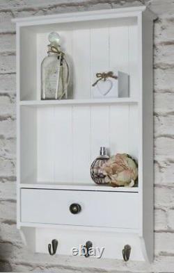 Vintage Wooden Shelf Unit With Drawer & 3 Key Hooks Wall Mounted Storage White
