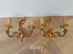 Vintage brass french shabby chic wall light for rewiring heavy