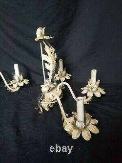 Vintage metal tole flower wall Sconces pair white shabby chic country decor TLC