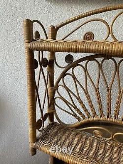Vintage natural wicker/Rattan Shabby Cottage Chic Hanging Wall Shelf Bathroom