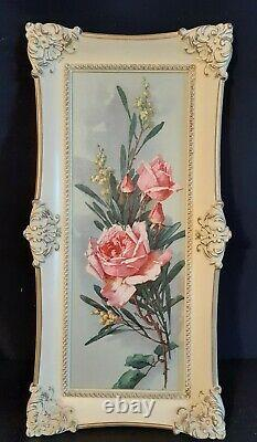 Vtg Set of 4 Turner Wall Accessories Floral Prints Framed Art 1970's Shabby Chic