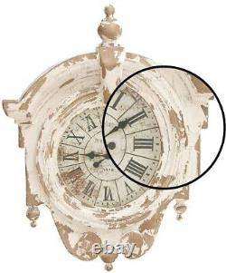 Wall Clock 44 in. X 34 in. Round Vintage Wooden Frame Shabby Chic Design- Brown