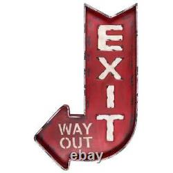 Wall Decor Metal Exit Way Out Curved Arrow Design in Distressed Red Finish