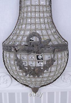 Wall Lamp Shabby Chic Application Chandelier Crystals Light Rococo Brass
