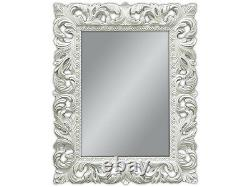 Wall Mirror White Antique Baroque Repro Shabby Chic Glamour 100x80 Mirror Woe