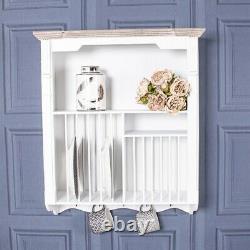 White Brown Wall Mounted Plate Rack Unit Storage Hooks Shelf Holder Wood Kitchen