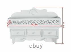 White Vintage Wall Mounted Shelf Shabby Chic Antique Style Storage Unit Wooden