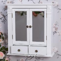 White Wooden Mirrored Bathroom Wall Cabinet Vintage Chic Cupboard Storage Unit