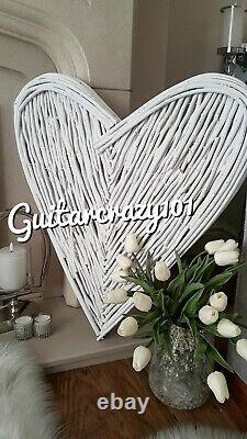 X Large White WICKER HEART rustic twigs willow wall hanging 80cm tall Gift