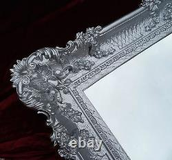 XXL Wall Mirror Silver 96x57 Antique Baroque Shabby Chic Floor Mirror Make-Up